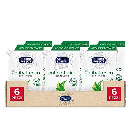 Neutro Roberts, Sapone Liquido Ecopouch Antibatterico, Ecoricarica Ecologica, Pelle Sana e Protetta, Té Verde - Confezione da 6 Pezzi da 400 ml