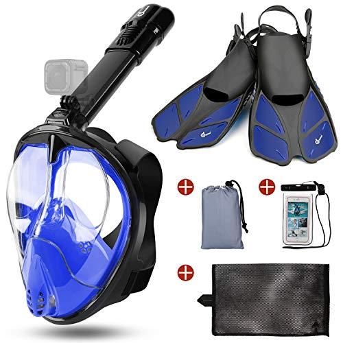 Odoland Snorkel Mask y Aletas Kit 5-en-1, Máscara de Buceo 180 °Cara Completa de Panorámico Visión Tecnología Antiempañante Anti-Fugas Camara Compatible, Azul L - (Mask L + Fins S)