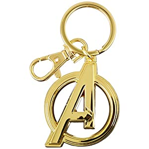 Marvel 68801 Avengers Logo in Gold – Pewter Key Ring Action Figure Accessories, 3″