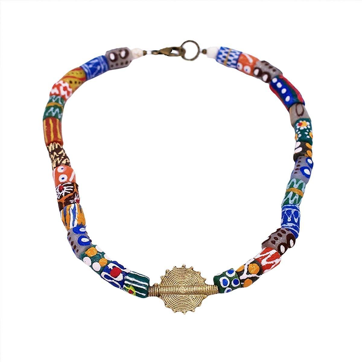 Male African Fees free Bead Choker Men's Krobo Glass Bombing free shipping Sun Necklace w