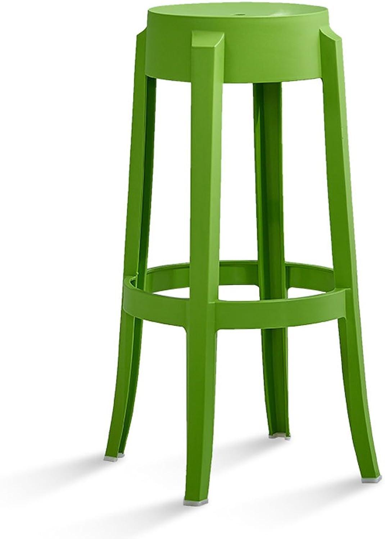 Northern Europe Bar Stool bar Chair Plastic High Stool Adult Simple Creative bar Stool Front bar Stool (color   Green)