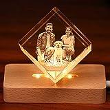 Foto de cristal 3D Cristal personalizado y personalizado con base LED, regalo memorable y recuerdo, cumpleaños, regalo de boda Regalos para el día del padre pequeños 70x70x70