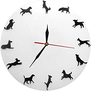xushihanjjli Wall Clock for Living Room Different Pose Dogs Silhouette Puppy Pet Vet Clinic Decor Minimalist Design Modern Dog Lovers Gift Silent Sports Fashion Children's Room Home Decor Creative