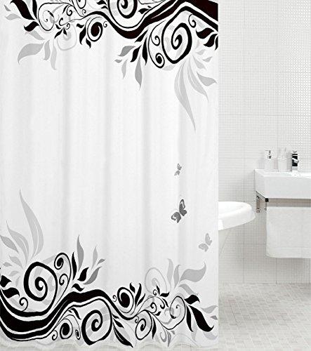 Sanilo Duschvorhang Black Flower 180 x 200 cm, hochwertige Qualität, 100prozent Polyester, wasserdicht, Anti-Schimmel-Effekt, inkl. 12 Duschvorhangringe