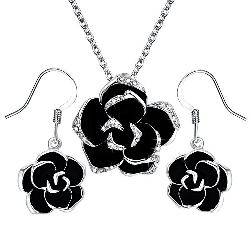 Yoursfs [Jewellery Set] 18ct White Gold Plated Crystal Flower Designed Jewellery Set for Women Black Rose Pendant Necklace and Earrings Set Prom Gift