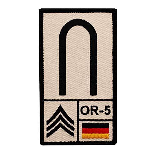 Café Viereck Unteroffizier B&eswehr Rank Patch mit Dienstgrad, Deutschlandflagge, NATO-Rang & US-Rank gestickt mit Klett (Sand)