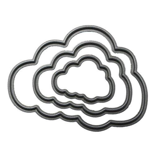 3 unidades de plantillas de troquelado de metal en forma de nube, plantilla para repujado para crear álbumes de recortes.-E001