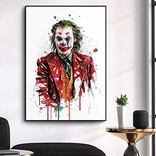 sanzangtang Clown Aquarell Film Leinwand Malerei Wandkunst Graffiti Tier Comic Poster und drucken Wohnzimmer Dekoration,Rahmenlose Malerei,50x75cm