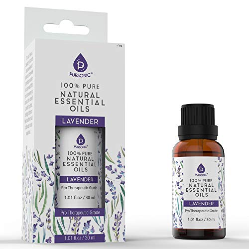 Pursonic 100% Pure Lavender Natural Aromatherapy Essential Oils 1oz, Pro Therapeutic Grade, Perfect for Aromatherapy, Relaxation, Skin,Hair & More!