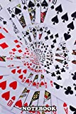 Notebook: Poker Royal Flush Playing Cards All Suits Droste Spiral , Journal for Writing, College Ruled Size 6' x 9', 110 Pages