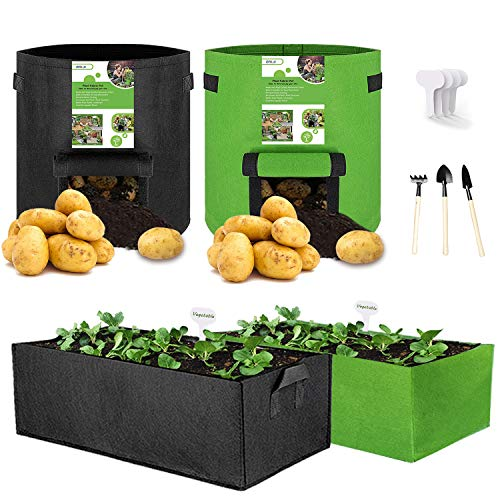 DALV 4-Pack Vegetable/Flower/Plant Grow Bags& Fabric Raised Garden Bed,...