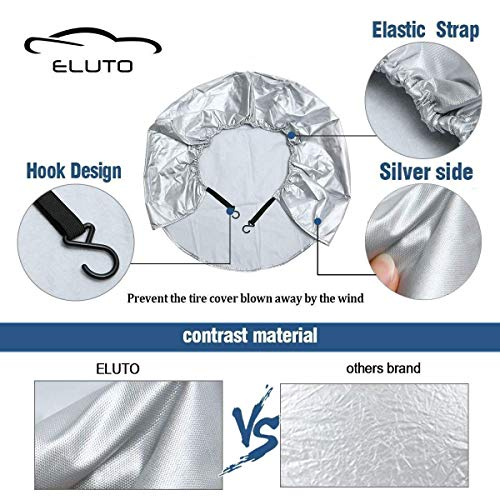 ELUTO Tire Covers for RV Wheel Covers Set of 2 Waterproof Oxford Cotton Tire Protectors Camper Trailer Tire Covers Fits 27' to 29' Tire Diameters