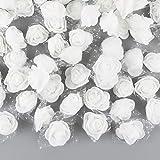 VINFUTUR 200pcs Rosas Artificiales Blancas Flores Falsas Espuma con Borde de Gasa para Decoración Regalos Guirnalda Jarrón Mesa Boda Manualidad DIY