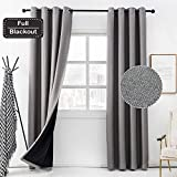 Anjee Blackout Linen Curtain 84 Inches Long 100% Room Darkening Window Grey Curtain Noise Reducton Thermal Insulated Drapery 2 Panels,Gray 52x84 Inches