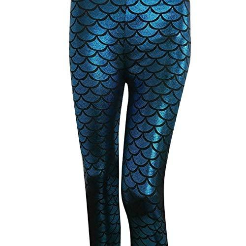 SELLM Pants Women's Holographic Mermaid Fish Scale Metallic Geometric Stretch Legging Pant Ladies Clothing,Turquoise,L