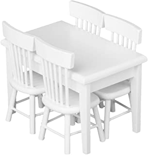 5Pcs 112 Dollhouse Miniature Dining Table Chair Wooden Furniture Set (White)