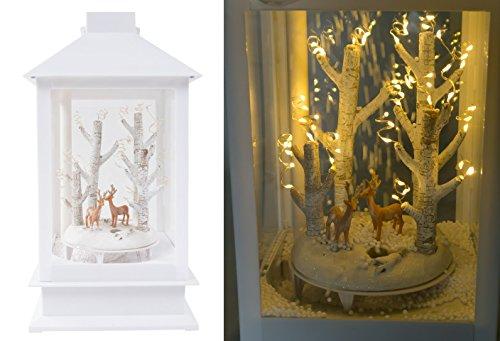 keine Angabe LED-Laterne schneiender Winterwald Weihnachtsdeko Fensterdeko Tanne Rehe Hirsche, Design:Hirsche hell