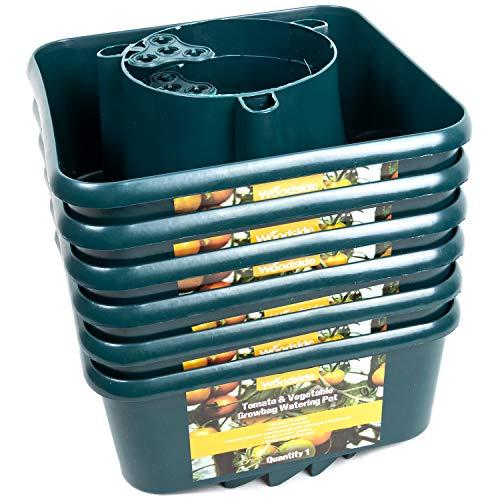 Woodside Tomato & Vegetable Growbag Watering Pots, Plastic Plant Pots (pack of 6)