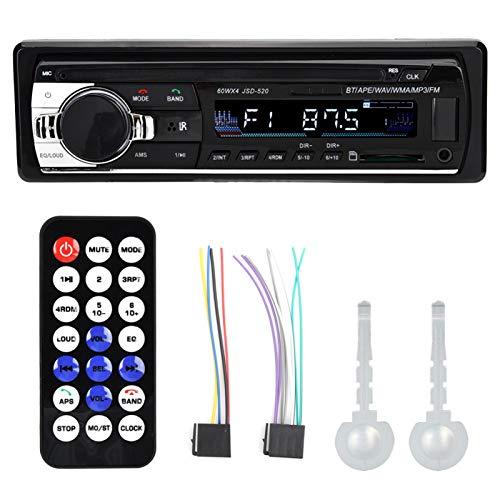 Agatige Receptor de Radio estéreo para automóvil Reproductor de música Bluetooth de un Solo Eje de música sin pérdidas HiFi con Entrada de Audio AUX con Control Remoto
