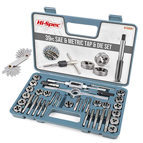 Hi-Spec 39 Piece SAE & Metric Tap and Die Set. Tapered & Plug Hand Tapping, Cutting, Threading, Forming, & Chasing Tool Kit for DIY, The Garage & Workshop