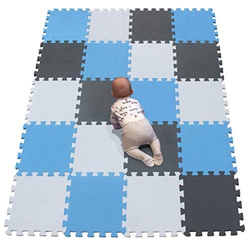 YIMINYUER Alfombrillas de Ejercicios Espumas EVA Esterillas Puzzle de Fitness Protectoras Deportivas(30 * 30 * 1cm) Blanco Azul Gris R01R07R12G301020