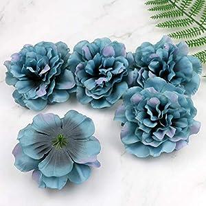 Artificial and Dried Flower Dark Blue 5pcs Silk Flower Dahlia Rose Artificial Flower Heads Wedding Decoration WreathBox Fake Flower 11CM