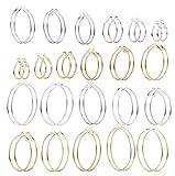 FIBO STEEL 22 Pairs Big Hoop Earring for Women Stainless Steel Round Circle Huge Loop Silver Gold Plated Drop Earring 20-70mm