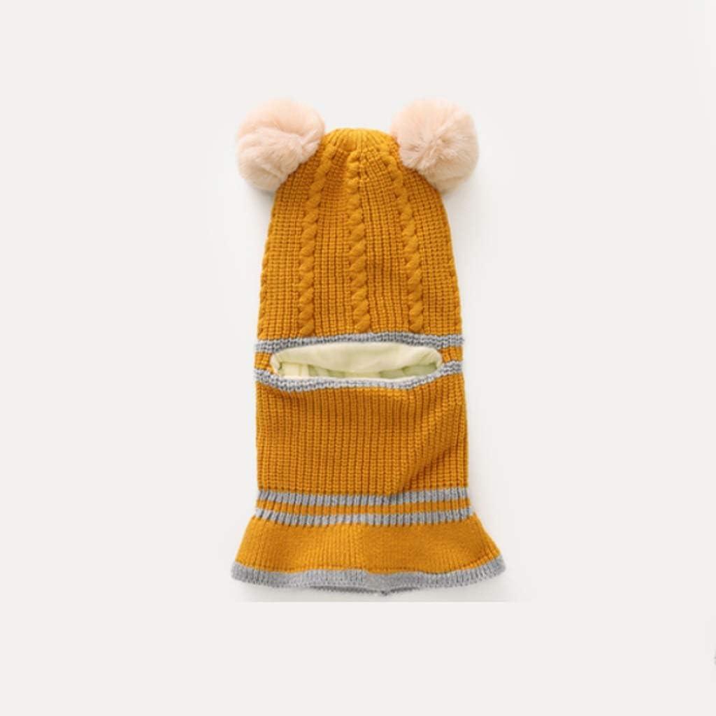 Agal Children Scarf Kids Winter Hat Scarf Set Baby Children Warm Beanie Hat Knit Wool Caps Scarves Neck Warmer Earflap for Kids 2-5 Years Warm Scarf (Color : Orange)
