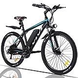 VIVI Elektrofahrrad Herren 26' Mountainbike mit 350W Motor,Abnehmbare 36V/10.4Ah Batterie /21-Gang-Getriebe/Höchstgeschwindigkeit 32km/h/Kilometerstand Aufladen Bis zu 50km (Blau)