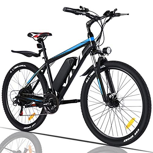 VIVI Elektrofahrrad, 350 W, Mountainbike, Erwachsene, 66 cm (26 Zoll), Akku 10,4 Ah, 32 km/h max. Geschwindigkeit, Unisex, blau, 26 pulgadas