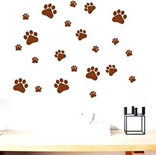BIBITIME. Walking Dog Paw Wall Stickers Animal Foots Prints Wall Decal Home Art Decor Dogs Footprints Dish Room Nursery Be...