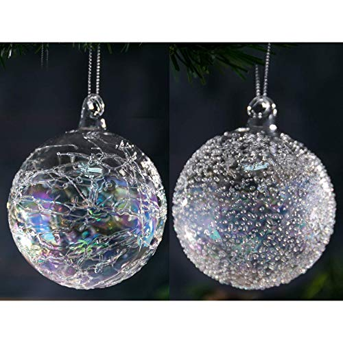 """Christmas Glass Handmade Clear Iridescent Ball Ornaments 2.36""""/6 cm Glitter Special Pattern Decoration Gift Present Mouth Blown Tree Hanging Wedding Party Home Glitter Baubles Set of 12 Pieces"""