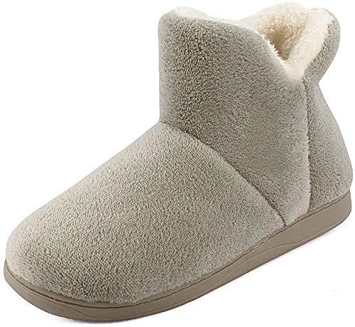 MK MATT KEELY Frauen Slipper Stiefel Männer Kunstpelz Futter Bootie Hausschuhe Kinder Warme Winter Familie Passenden Schuhe, Beige, 43/44 EU (Herstellergröße: 44/45)