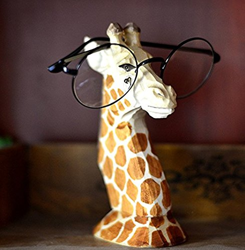 dodola Wood Hand Carved Eyeglass Holder Stand Giraffe