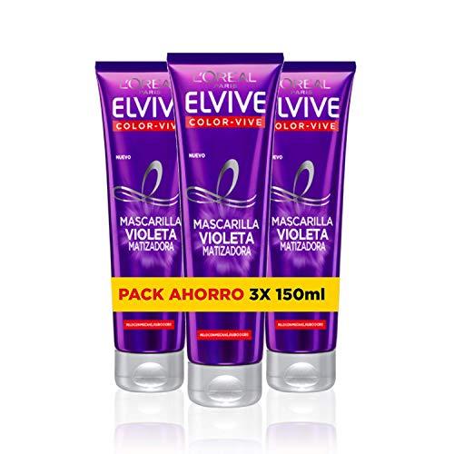 L'Oreal Paris Elvive Color Vive - Mascarilla Violeta Matizadora para Pelo Teñido, Rubio, Decolorado o Gris - Pack Ahorro de 3 Unidades x 150 ml, Total: 450 ml