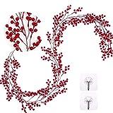 Whaline Guirnalda artificial de bayas rojas de 1,5 m, con diseño de bayas rojas, ideal para Navidad, invierno, año nuevo, chimenea, marco de puerta, decoración navideña