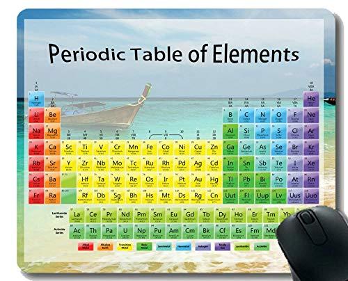 Yanteng Tabla periódica por Elementos de química Alfombrilla de ratón para Juegos, Alfombrillas de ratón con temática de Barco de Ocean Beach con Borde Cosido