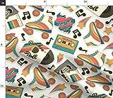 Spoonflower Stoff – Retro-Rollerbahn Pins Musik