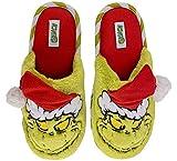 Grinch Women's Cozy Christmas Slide Slipper (Green, 9-10)
