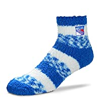 For Bare Feet NHL RMC Pro Stripe Fuzzy Sleep Soft Sock -New York Rangers-Size-Medium