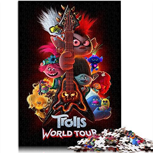 Visionpz Puzzle para Adultos Rompecabezas de 1000 Piezas Gira Mundial de los Trolls Conjunto de Rompecabezas Familiar Movie Poster Rompecabezas Juegos educativos para Adultos y niños 52x38cm