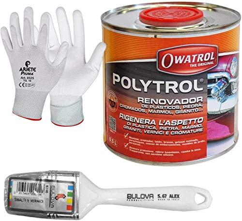 Owatrol Polytrol Rénovateur de support spécial plastique, pierre, marbre, granit, peinture et métaux chromés (500 ml avec pinceau)