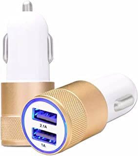 HTC Bolt Car Cigarette Lighter Charger USB Gold Dual Ports Ultra Fast USB X2 Car Charger 12/24 V