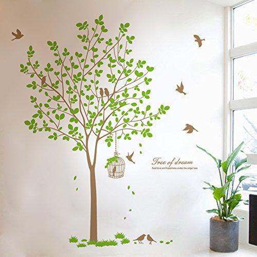 zooarts grün Baum Vögel Birdcage abnehmbar Wand Aufkleber Vinyl Decor Home Zimmer Wandbild