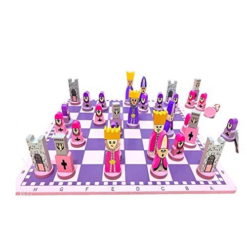 Schach Cartoon Holzmann Domestics Schach Spiel Eingang Anfänger Jungen Mädchen Geschenk (Color : Pink)