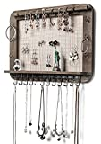 JackCubeDesign Wall Mounted Rustic Jewelry Organizer, Jewelry Wall Hanger with 29 Hooks & Rod for Necklace Earring Bracelet Bangle Watch - MK399A