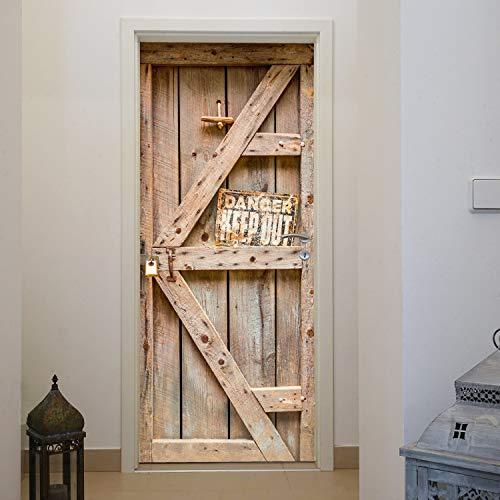 murimage Papel Pintado Puerta Madera Rústica 86 x 200 cm Incluye Pegamento Tabla Tablónes Western Vintage Fotomurales Pared