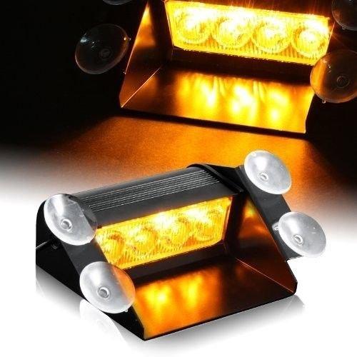 HEHEMM LED blitzer, LED Frontblitzer 12V Bernstein 4 LED Warnleuchte Auto Blitzleuchte Autolicht Notlicht Dashboard Dash Visier Stroboskopleuchten Notfall Hazard Achtung Bar