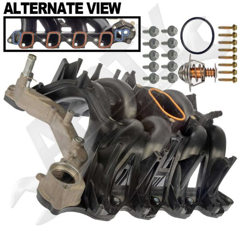APDTY 726299 Intake Manifold Assembly w/Upgraded Aluminum Front Coolant Passage O-Ring Gaskets & Thermostat Fits 2000-2015 Ford Trucks & Vans w/ 5.4L Engine (4C2Z-9424-CA, 2L1Z-9424-AA, 5C2Z9424AA)
