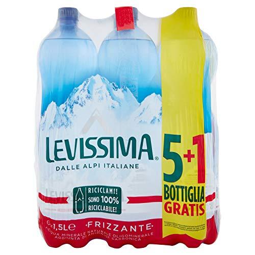 Levissima Acqua Minerale Frizzante, 100% Riciclabile, Pacco da 6 x 1.5L